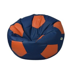 FOOTBALL LEATHER BEAN BAG blue