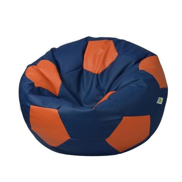 FOOTBALL LEATHER BEAN BAG blue