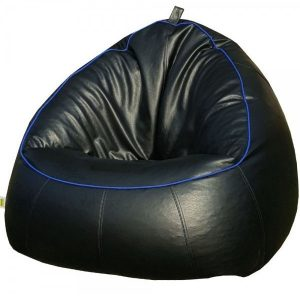 LEATHER BEAN BAG SOFA CHAIR black