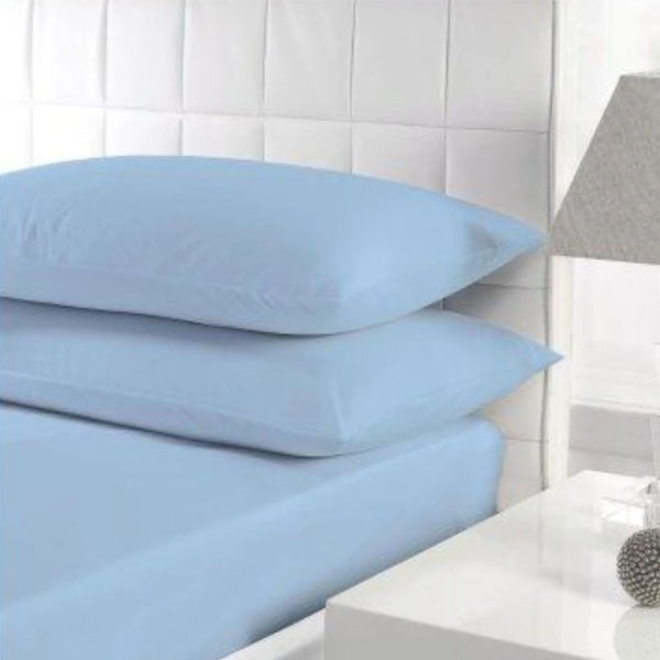RICH COTTON FITTED SHEET -SKY BLUE