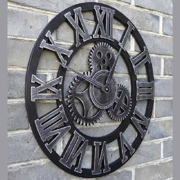 roman wooden style clock 01