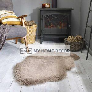 Brown Fluffy Faux Fur Mat