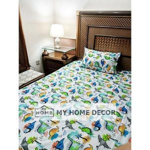 Dinosaur Themed Cartoon Bed Sheet