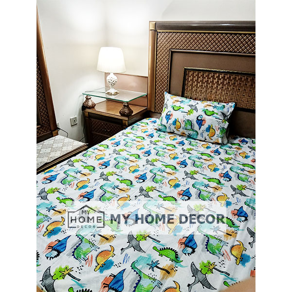 Dinosaur Themed Cotton Kids Bed Sheet