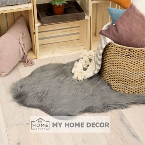 Drak Grey Fluffy Faux Fur Mat