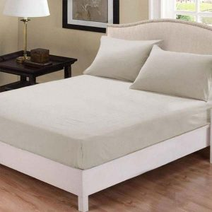 Fitted bed sheet beige color