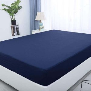 Fitted bed sheet navy blue color