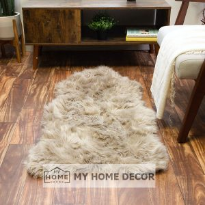 Light Brown Fluffy Faux Fur Mat