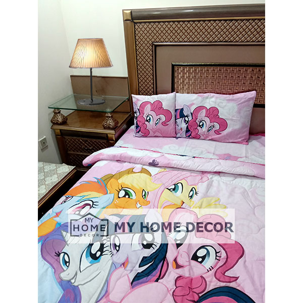 Little Pony Themed Cotton Kids Bed Sheet