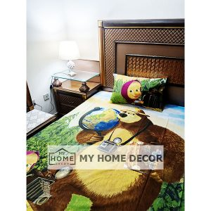 Masha and the Bear Themed Cartoon Bed Sheet