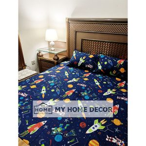 Space Themed Cartoon Bed Sheet