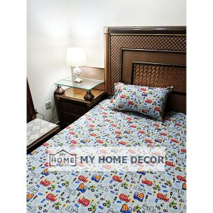 Traffic Themed Cotton Kids Bed Sheet