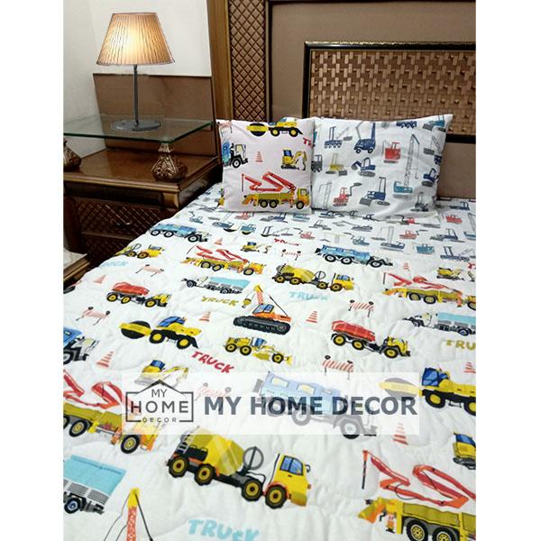 Truck Themed Cotton Kids Bed Sheet