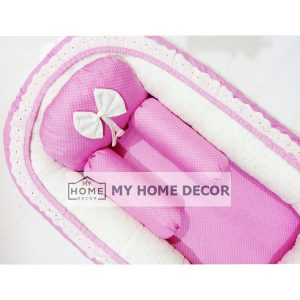 White and Pink Dots Theme Baby Nest 01