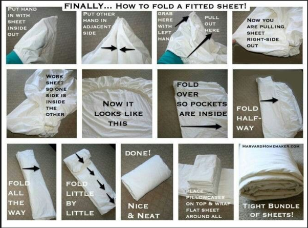 Folding the fitted bed sheets