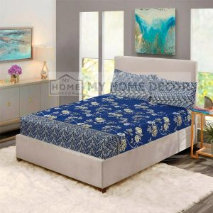 Blue flowers printed fitted bed sheets