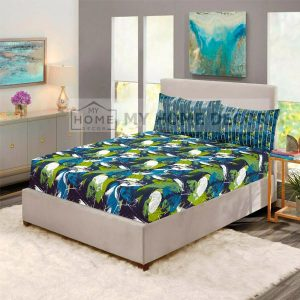 Green and blue leaves printed fitted bed sheets