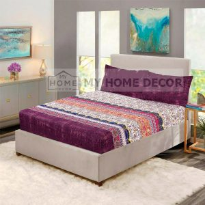 Maroon printed fitted bed sheets
