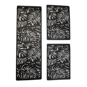 PVC Foaming Sheet Black Pattern Table Mat leaves Black