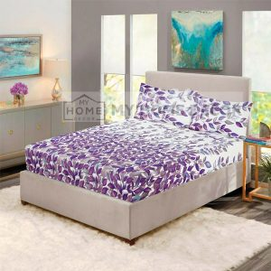 Purple leaves printed fitted bed sheets