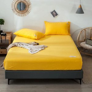 RICH-COTTON-FITTED-SHEET- SOLID YELLOW