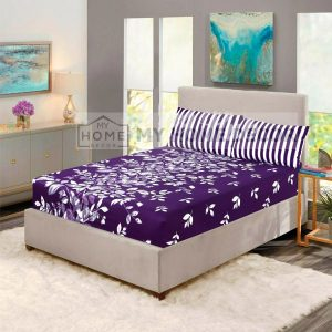 White leaves printed fitted bed sheets