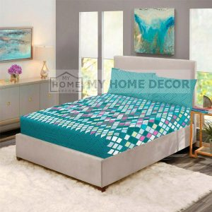 blocks pattern printed fitted bed sheets