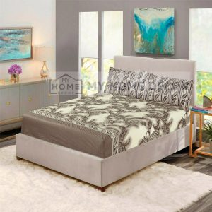 brown pattern printed fitted bed sheets