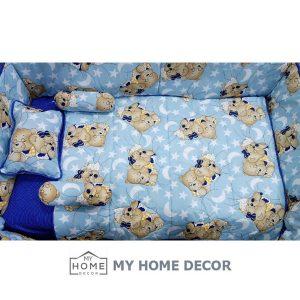 Cot Bedding Set - Blue Big Bear