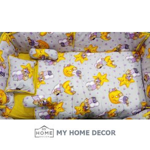 Cot Bedding Set - Yellow & Purple Star